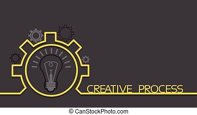 概念, スペース, ライト, はめば歯車, 考え, ブレーンストーミング, 新しい, 電球, コピー, 旗