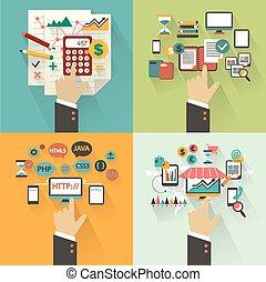 概念, セット, hands., ビジネス