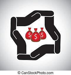 概念, セービング, 保護, お金, 通貨, ベクトル, 安全, ∥あるいは∥
