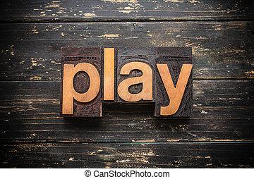 概念, タイプ, 凸版印刷, 木製である, 単語, プレーしなさい, 型