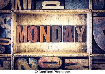 概念, タイプ, 月曜日, 凸版印刷