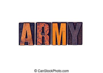 概念, タイプ, 隔離された, 凸版印刷, 軍隊