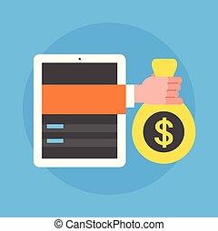 概念, タブレット, ビジネス, モビール, お金, 袋, 手, 札入れ, 保有物, デジタル人, アイコン