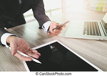概念, タブレット, 仕事, 木製である, スクリーン, デジタル電話, コンピュータ, ブランク, ビジネスマン, 机, 痛みなさい