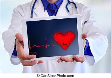 概念, タブレット, 医者, 提示, 将官, 代表, コーカサス人, 心電図