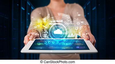 概念, タブレット, 手の 保有物, 技術, 雲