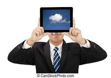概念, タブレット, 考え, pc, 保有物, ビジネスマン, 微笑, 雲