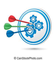 概念, ターゲット, それ, ヒッティング, 協力, さっと動く