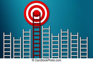 概念, ターゲット, ビジネス, はしご, 長い間, 赤, ゴール