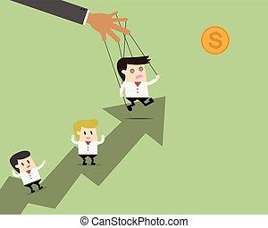 概念, ターゲット, ビジネス, ロープ, 現場, の後ろ, チームワーク, 一緒に。, ビジネスマン, 行きなさい, パペット, リーダー, 処理しなさい