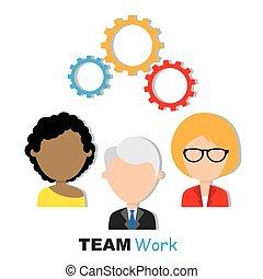 概念, チームワーク, ビジネス