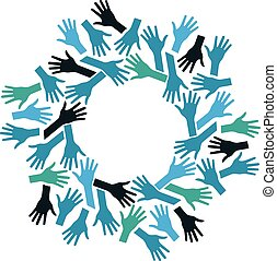 概念, チームワーク, circle., 共同体, 手