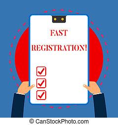 概念, テキスト, フレーム, 入る, 青, 情報, 手掛かり, 2, 速い, 執筆, registration., クリップボード, ある特定の, 白, 持つ, 方法, 長方形, 意味, hands., 記録, 穴, 速く, 手書き