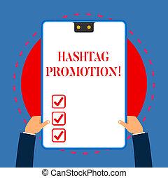 概念, テキスト, フレーム, 発見しなさい, あなたの, 青, 手掛かり, 2, 執筆, 内容, クリップボード, 白, 持つ, promotion., 長方形, もっと, 提示, 意味, hashtag, hands., かみ合いなさい, 穴, 缶, 手書き