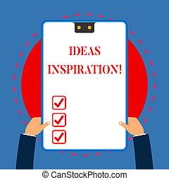概念, テキスト, フレーム, 考え, 何か, 青, 手掛かり, 2, 執筆, クリップボード, hands., 熱意, 白, 持つ, 長方形, 誰か, 得なさい, 意味, あなた, inspiration., 穴, 手書き, 感じ, ∥あるいは∥