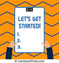 概念, テキスト, フレーム, started., 励ますこと, 何か, 青, 手掛かり, 2, 執筆, クリップボード, 白, 持つ, 長方形, 始めなさい, 誰か, ビジネス, 得なさい, そうさせられた, hands., 単語, 穴, s