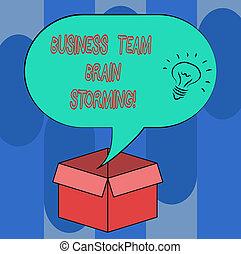 概念, テキスト, 上に, 考え, 脳, ブランク, 開いた, グループ, 仕事, storming., スピーチ, カートン, 泡, box., ビジネス, halftone, 意味, アイコン, ミーティング, 中, 仕事のチーム, 手書き, 企業である
