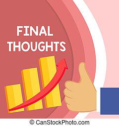 概念, テキスト, 中で, 文, あなたの, thoughts., arrow., グラフ, 少数, パフォーマンス, 最終的, 結論, よい, 上昇, 意味, 最後, 親指, バー, 成功, の上, escalating, 手書き, ∥あるいは∥