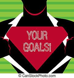 概念, テキスト, 何か, ブランク, あなたの, スーパーマン, ワイシャツ, 開始, 執筆, あなた, logo., 目的を達しなさい, 彼の, ビジネス, 得なさい, ずっと, ポーズを取りなさい, 三角, goals., 人, 明らかにしなさい, 単語, 未来, 希望, ∥あるいは∥