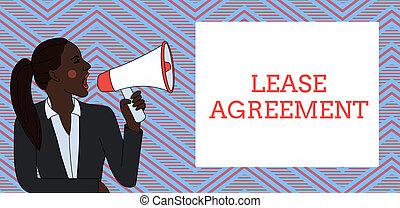 概念, テキスト, 1(人・つ), box., 賃貸料, 同意する, loudhailer, 若い, 執筆, 叫ぶこと, パーティー, ポニーテール, 借りなさい, 女, 用語, ビジネス, 単語, agreement., 契約, 長方形, ジャケット, 特性