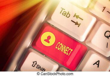 概念, テキスト, communicate., 写真, connect., 仲間, ネットワーキング, 一緒に, 提示, ある, 印, 連絡, 関係をもちなさい