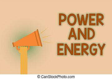 概念, テキスト, energy., メッセージ, 精力的, ビジネス, 電気, 執筆, 熱いスピーカー, 問題, 公衆, ブラウン, 電力, 手, 単語, 音, announcement., 産業, 分配, 大声で