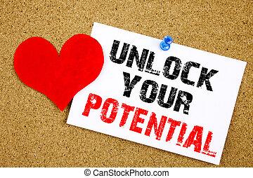 概念, テキスト, potential., 付せん, 錠を開けなさい, 成長, あなたの, スペース, 執筆, 書かれた, メモ, 概念, メモ, 開発, ビジネス, 提示, コルク, 背景, コピー, インスピレーシヨン, キャプション, 手