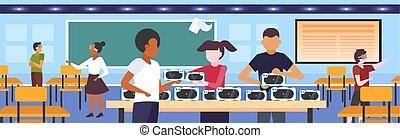 概念, テスト, ティーネージャー, vr, ゴーグル, 技術, ヘッドホン, バーチャルリアリティ, 混合, デジタル, 内部, 3d, 身に着けていること, 平ら, 現代, 生徒, 横, 教室, レース, ビジョン, ガラス