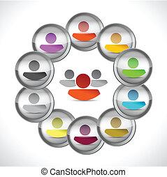 概念, デザイン, イラスト, リーダーシップ, 人々