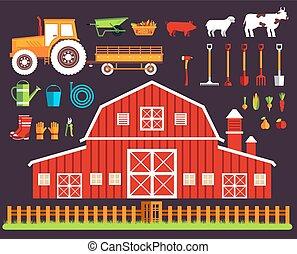 概念, トラクター, デザインを設定しなさい, 村, clothing., 建物, 道具, 道具, 花, sets., タイル, 干し草, 平ら, 野菜, 家畜, 成果, 背景, イラスト, ベクトル, sprites
