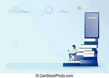 概念, ドア, 成功, ビジネス, 座りなさい, 本, 成長, 階段, 山, 人