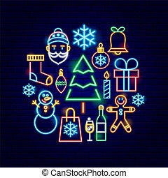 概念, ネオン, クリスマス