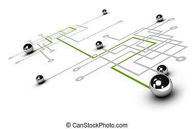 概念, ネットワーキング, ネットワーク, クロム, 上に, 灰色, イラスト, つながれる, ボール, ボール, 緑, 線, 白, 他, 背景