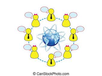 概念, ネットワーキング, 世界的である, イラスト, ベクトル, 社会, 友人