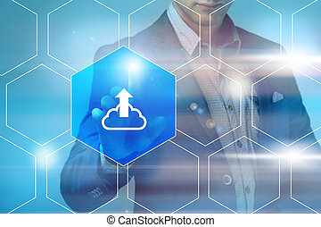 概念, ネットワーキング, 技術, サービス, ボタン, -, 事実上, ビジネス, スクリーン, アイロンかけ, インターネット, ビジネスマン, 雲