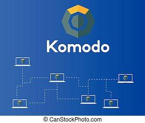 概念, ネットワーク, シンボル, blockchain, 背景, komodo