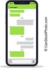 概念, ネットワーク, スクリーン, メッセージ, 電話, ベクトル, チャット, 社会, template., 議論