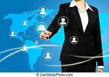 概念, ネットワーク, スクリーン, 社会, 感触, 技術