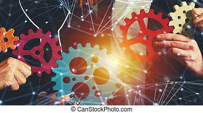 概念, ネットワーク, ビジネス, 協力, 統合, 小片, チームワーク, 連結しなさい, チーム, gears., 効果