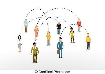 概念, ネットワーク, 人々, イラスト, 接続, 社会