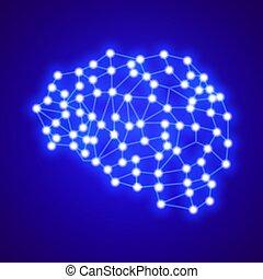概念, ネットワーク, 創造的, 接続, ベクトル, brain., logo., logo-digital