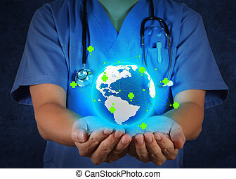 概念, ネットワーク, 医者, 医学, 彼の, 手を持つ, 世界地球儀