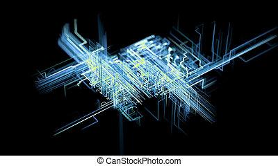 概念, ネットワーク, 大きい, デジタル, 人工, connections., 結合性, 知性, 成長する, データ