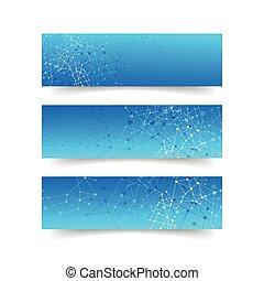 概念, ネットワーク, 抽象的, -, 接続, セット, 背景, 旗
