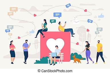概念, ネットワーク, 談笑する, 人々, ベクトル, 社会
