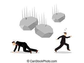 概念, ハプニング, world., 離れて, 動くこと, ベクトル, ビジネスマン, rocks., 落ちる, 企業である, 危機, illustration.