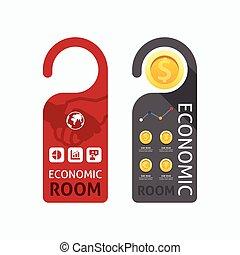 概念, ハンドル, 部屋, 錠, set., ペーパー, ベクトル, 経済, ドア, ハンガー, 旗