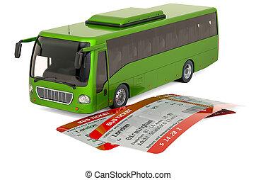 概念, バス, 旅行, レンダリング, tickets., 3d