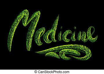 概念, バックグラウンド。, 黒, 薬, ヘルスケア, 緑, 微片, 白熱, 単語, 作られた