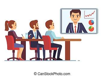 概念, ビジネスオフィス, ceo, コミュニケーション, オンラインで, employees., ベクトル, ビデオ, デジタル, 会議室, チームワーク, ミーティング